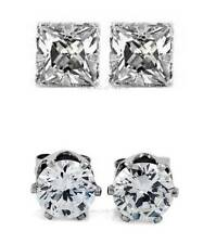 2 PAIRS CZ CLEAR ROUND+SQUARE MAGNETIC STUD EARRINGS