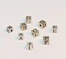 Beads, Sterling Silver: Alphabet, Square, 4mm, Letters