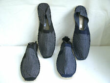 MENS BLACK OR NAVY GREY STRIPED ESPADRILLES F2124
