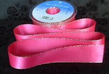 Double Faced Satin Ribbon Berisfords Shocking Pink Gold Edge Colour 72