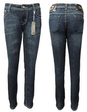 INDIGO BLUE DENIM SKINNY LEG LOW CUT JEANS WITH LIGHT STITCHING. ZIP & 1 BUTTON.