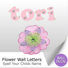 Wall Letter Alphabet Initial Sticker Vinyl Decal Name Bedroom Pink Purple Flower
