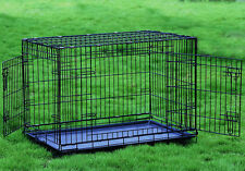Folding 1 & 2 Door Dog Crate Cage Kennel 6 sizes Small Medium Large Extra Large