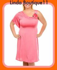 B28 New Ladies Coral Formal Wedding Evening Race Work Office Dress Plus Size