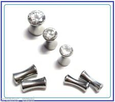 Solid Steel Clear CZ Gem Ear plugs Double flare Saddle stretcher Tunnel 6 sizes