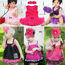 Newborn Baby Girl Cotton Overall Rose Bubble Romper Dress Bloomer Coustmes 0-24M