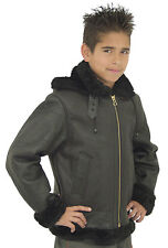 KIDS B3 AVIATION BOMBER JACKET MADE WITH REAL BLACK SHEEP SHEARLING FUR