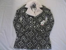 BILLABONG GIRLS WOMENS WINTER COAT BUTTON UP WHITE/BLACK