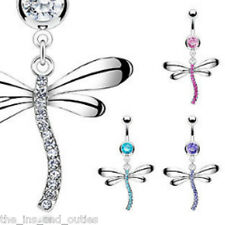 Dragonfly Paved Gem Belly Ring Navel Naval