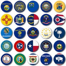 "USA STATE FLAGS (M to W) 25mm, 1"" Button Badge, American, Texas, New York"