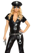 Sexy Naughty Police Officer Vinyl Catsuit Cop Costume