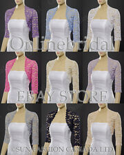 3/4 sleeve lace bolero jacket shrug -PICK SIZE S-4X -17 COLOURS