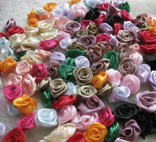 500/100pcs Satin Ribbon Flower Rose craft/wedding appliques Lots U pick A602
