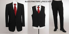 "BNWT Skopes wool blend 3 piece suit in Black pinstripe, chest 48"" to 52"""