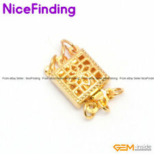 3 Strands Filigree Yellow Gold Plated Box Clasp Jewelry Making Findings gP0017