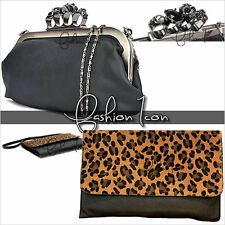 New Celeb Punk Rock Faux Leather Evening Envelop Handbag / Shoulder / Clutch Bag