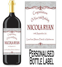Personalised Bottle Label Birthday Gift Favour Wine, Spirit Or Champagne BDBL 6