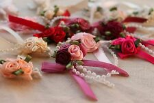 Triple Rose Bud Ribbon & Pearl Beads Cluster - Pinks / Reds - Colour Choice