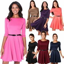 Women Belted 3/4 Sleeve Top Pleated Tailored Swing Skirt Skater Mini Dress Party