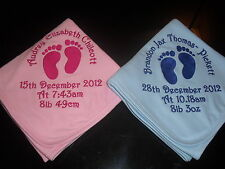 PERSONALISED BABY COTTON BLANKET HAND OR FOOTPRINTS, PERFECT GIFT!!! L@@K!!!!