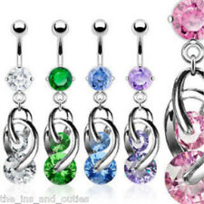 Cosmo CZ Gem Dangle Belly Ring Navel Naval