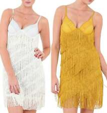 Sexy Gold White Showgirl Flapper Party Dress size 8 10 12 14