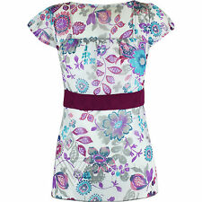 Ladies Womens Floral Top Bow Chiffon Flower Printed Tunic Dress Blouse Summer