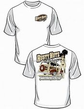 White RUSTY NUTZ Garage T-Shirt We'll Get Your OLD WOODY Up and Going in No Time