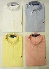 RALPH LAUREN POLO MEN'S WHITE BLUE YELLOW PURPLE CLASSIC-FIT SHIRT 15-18, 32-37