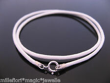 """2mm White Waxed Cord & Sterling Silver Necklace 14"""" 16"""" 18"""" 20"""" 22"""" 24"""" 26"""" etc"""