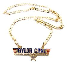 """ICED OUT TAYLOR GANG PENDANT &24"""" FIGARO CHAIN WIZ KHALIFA NECKLACE SMALL MSP290"""