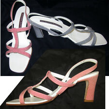 VALENTINA RANGONI $145 Italian T-Strap PUMPS SANDALS SHOES B&W or R&W pick size