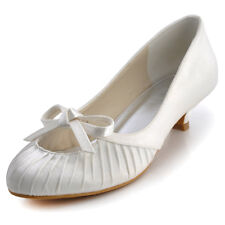 EP2057 Ivory Women Bridal Party Round Toe Bow Ruche Satin Low Heel Wedding Shoes