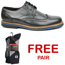 Men's Formal & Casual Brogue Shoes Black Leather Look UK 6 - 11 Euro 40 - 45 New