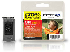 Remanufactured Jettec PG-40 Black Ink Cartridge for Canon Pixma Printers