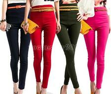 Hot Women's High Waist Stretchy Skinny Leggings Pencil Pants Trousers Free Ship