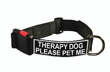 Dog Collar With Velcro Patches by Dean Tyler: Therapy Dog Please Pet Me