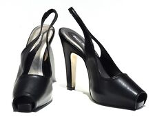 Pierre Dumas Open Toe Black High Heel Slingback Womens Shoes #1110 (Retail $78)