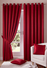 red eyelet ring top madison curtains including tie backs (free p&p)