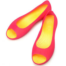 New Lovely Womens Jelly Peep Toe Ballet Flats Shoes Pink Yellow