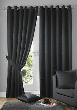 black eyelet ring top madison curtains including tie backs (free p&p)