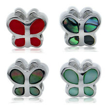 Coral, Abalone or Mother Of Pearl 925 Sterling Silver BUTTERFLY European Bead