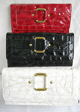 LADIES BLACK, WHITE OR RED CROC PRINT DESIGN  PURSE WITH GOLD BUCKLE
