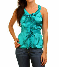 Trendy Women Blouse Top in Turquoise Blue Evening or Office Work Attire Shirt