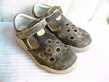 SCHOLL LEATHER INFANT BOYS BEIGE AND BROWN VELCRO FASTENING SHOES - TOBIAS