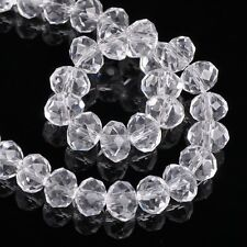 3~18MM Faceted Rondelle Loose Finding Glass Crystal Beads CRYSTAL CLEAR