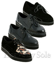 NEW LADIES WOMENS PLATFORM CREEPER FLAT SHOES PUNK GOTH LACE UP SHOES SIZE 3-8