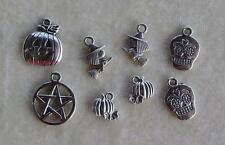 Halloween Day Of The Dead Pumkin Witch Skull Wicca Pentagram Bead Drop Charms