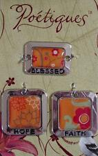 Charm Sets Affirmations Word Picture Altered Art Enamel Silver Metal Bead Drops