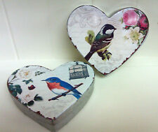 Shabby Chic Heart Shaped Tin Trinket Box, Bird with Roses & Cage, Vintage Style